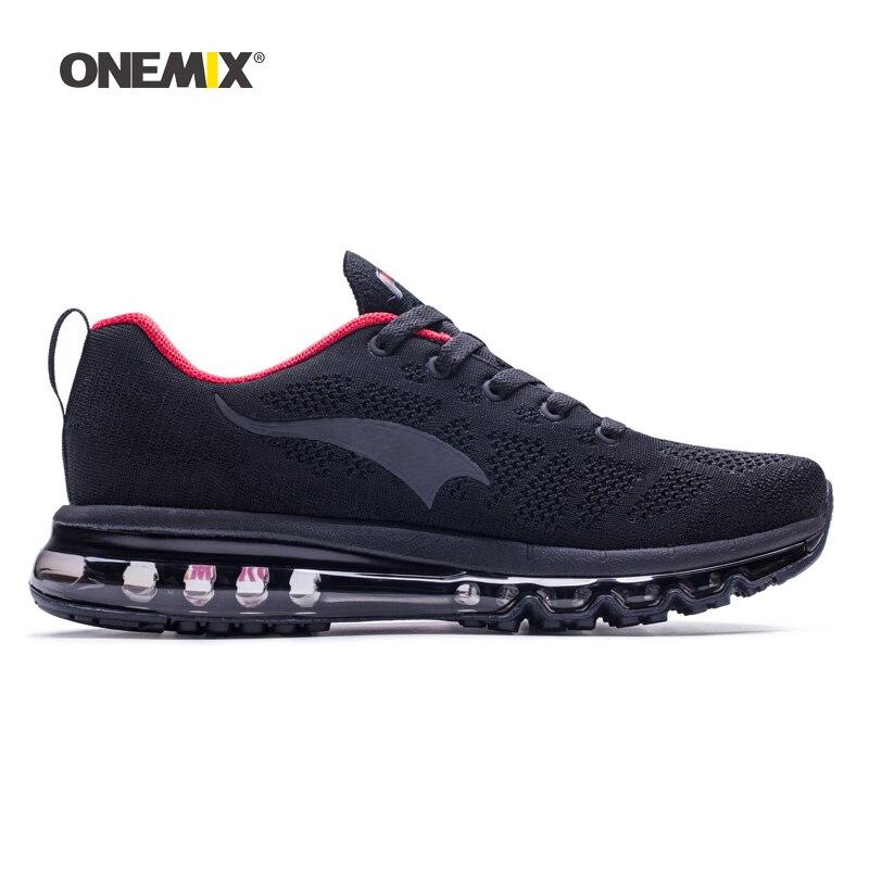 ONEMIX Homme Chaussures de Course Pour Les Hommes de Nice Zapatillas Athletic Trainers Noir Rouge Sport Coussin D'air de Jogging En Plein Air de Marche Sneakers - 3