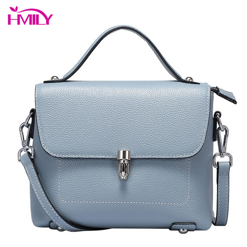b2eecbfade HMILY Genuine Leather Ladies Handbag Classics Simple Women Messenger Bag  Real Cowskin Women Shoulder Bag Daily Shopping Bag-in Top-Handle Bags from  Luggage ...