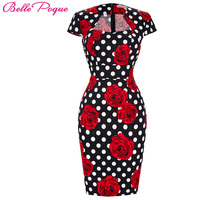 Summer Business Female Pencil Dress 2016 New Fashion Polka Dot Floral Print Women Bodycon Bandage Dresses