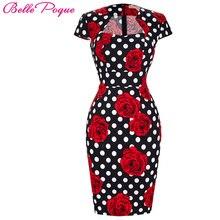 Summer Business Female Pencil Dress 2017 New Fashion Polka Dot Floral Print Women Bodycon Bandage Dresses