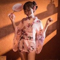 Sexy mousse Sexy kimono Japanese cherry blossom romantic chiffon pajamas fun uniform suit transparent underwear sexy nightdress