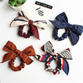 British style lattice Bow Hair ring sweet Hair rope Rubber band stripe cute Tied hair Head flower Elastic Hair Bands accessories