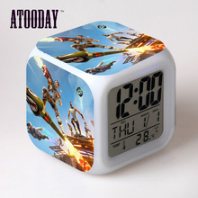 Alarm Clock Led Light 7 Color Change Horse Desk Reloj Square Table Table Square Digital-Watch Vintage