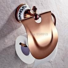 Розовое Золото Цвет Латунь Ванной Настенные Держатель Туалетной Бумаги Ткани Держатель Рулона Wba385