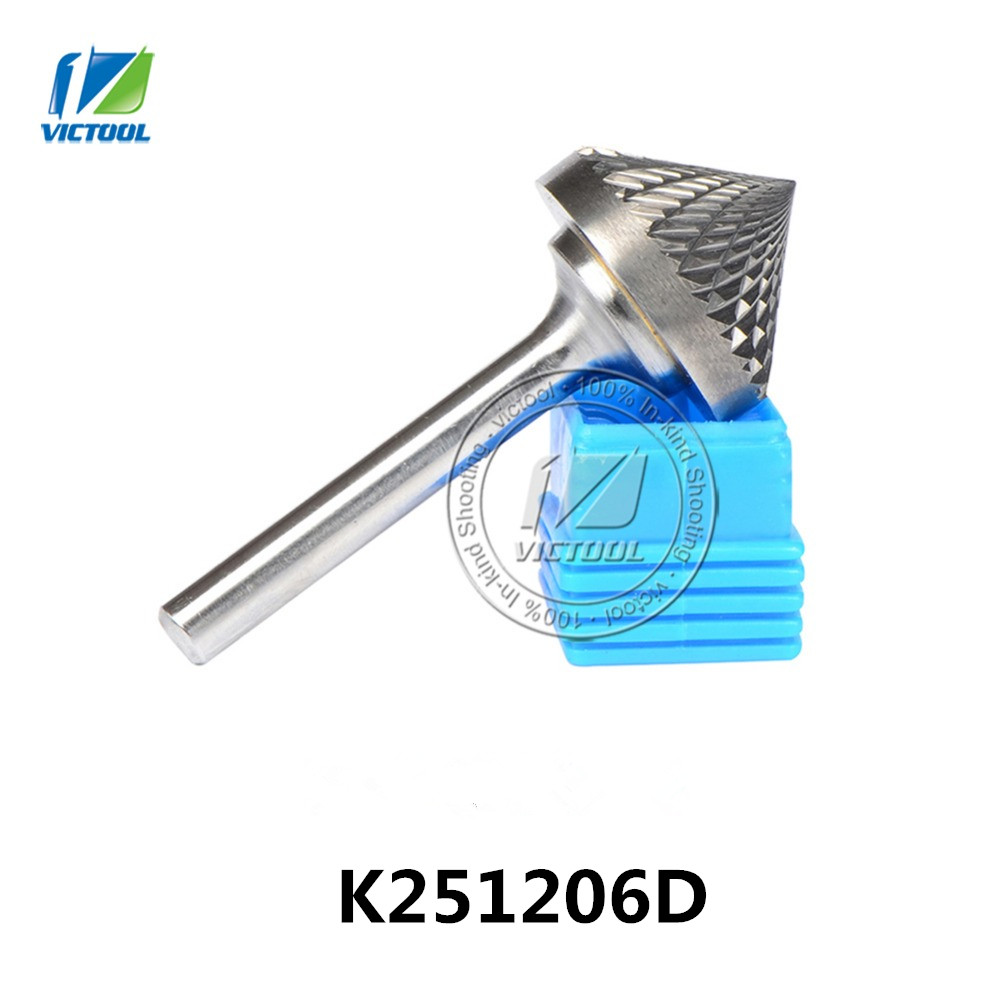 Tungsten carbide K cone 90 degree 25*12mm rotary burr file cutter grinding and abrasive tools K251206D 6mm shank milling tools