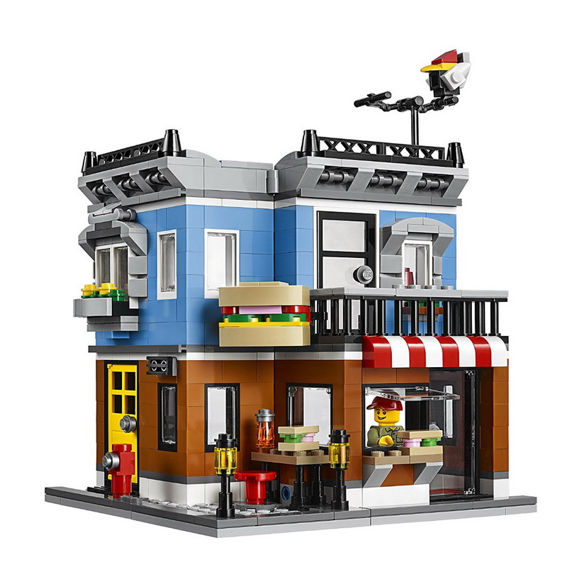 24007 LEPIN City Creator 3 in 1 Corner Deli Model Building Blocks Classic Enlighten Figure Toys For Children Compatible Legoe lepin city creator 3 in 1 beachside vacation building blocks bricks kids model toys for children marvel compatible legoe