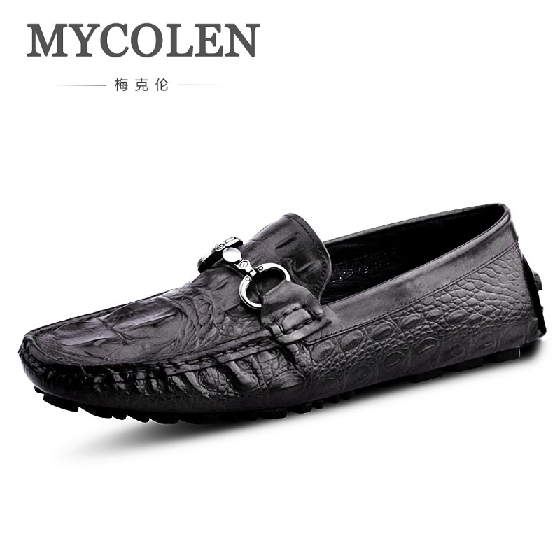 MYCOLEN Men Loafers Shoes 2018 Casual Fashion Crocodile Print Men Flats Shoes Genuine Leather Male Shoes For Driving Flat Shoes new 2017 men s genuine leather casual shoes korean fashion style breathable male shoes men spring autumn slip on low top loafers