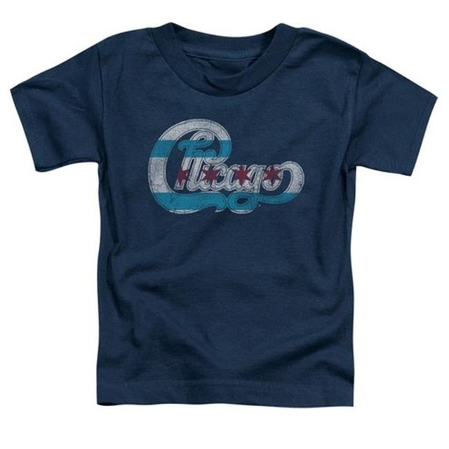 Trevco Chicago-Flag Logo – Short Sleeve Toddler Tee – Navy Small 2T
