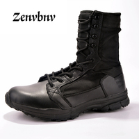 ZENVBNV SWAT Men Tactical Military Army Boots Breathable Genuine Leather Mesh High Top lovers Camping Desert Shoes Ankle Combat