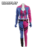 Injustice 2 Harley Quinn Cosplay Costume 2017 Gameplay Women Pink fight Suit PU leather Clown Fancy Dress Halloween Outfit
