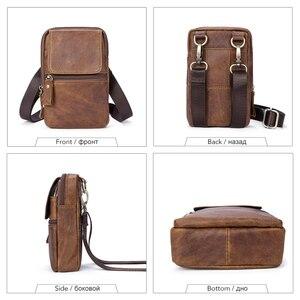 Image 3 - WESTAL Bolsa de mensajero con cinturón de Bolsos de cuero auténtico para hombre, Bolso pequeño de cintura, a la cadera, estilo cruzado, 1024
