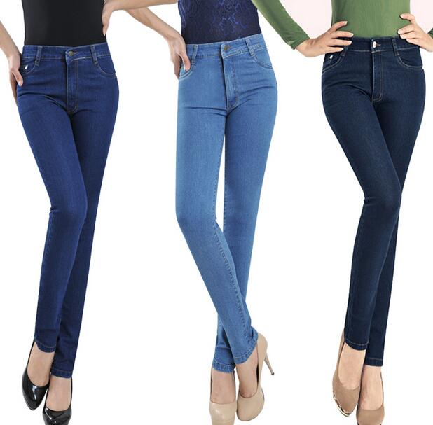 New women high waist jeans plus size Slim denim pencil pants troursers female S97