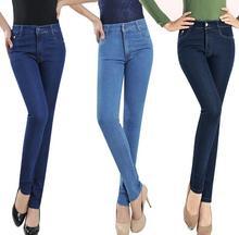 Новый женский высокой талией джинсы плюс размер Тонкий деним карандаш брюки troursers женский S97