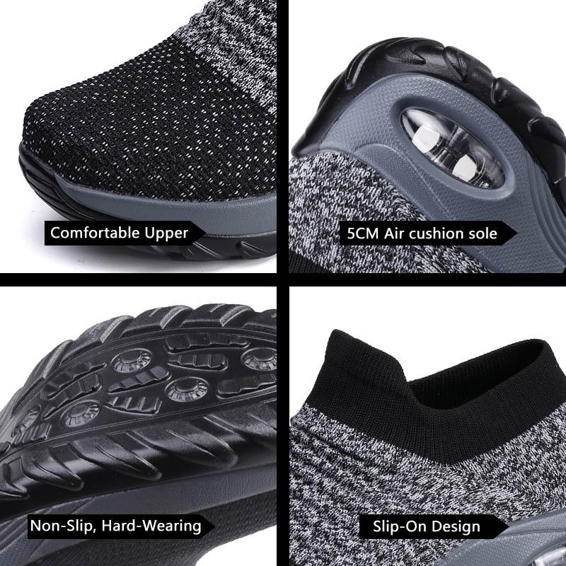 Womens Flats Slip On Shoes for Women Sock Sneakers Platform 2019 Comfortable Soft Ladies Spring Buty Damskie Sepatu Wanita Black 5