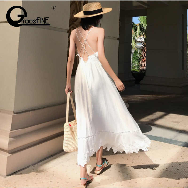 Dress Women Backless Sexy Honeymoon White Bridesmaids Long Dress Korean  Style Maxi Lace Boho Dress vestidos 6a0d24dcd5a0