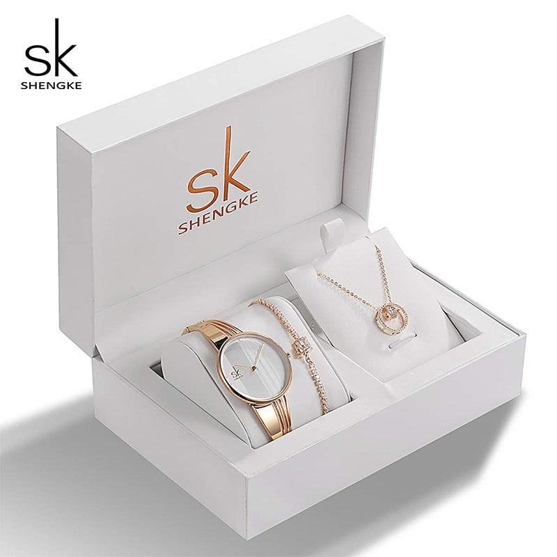 SK Brand Creative Women Watch Bracelet Necklace Set Female Jewelry Fashion Luxury Women Watch Bangle Set For Valentine's Gift