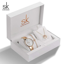 SK Brand Creative Women Watch Bracelet Necklace Set Female Jewelry