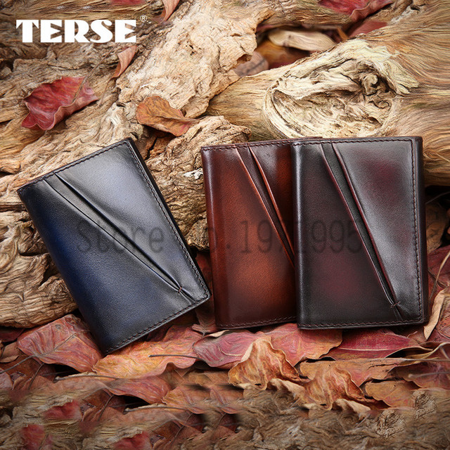 TERSE_Fashion dress mens card wallet 3 color real leather card holder handmade luxury style high quality one stop service OEM
