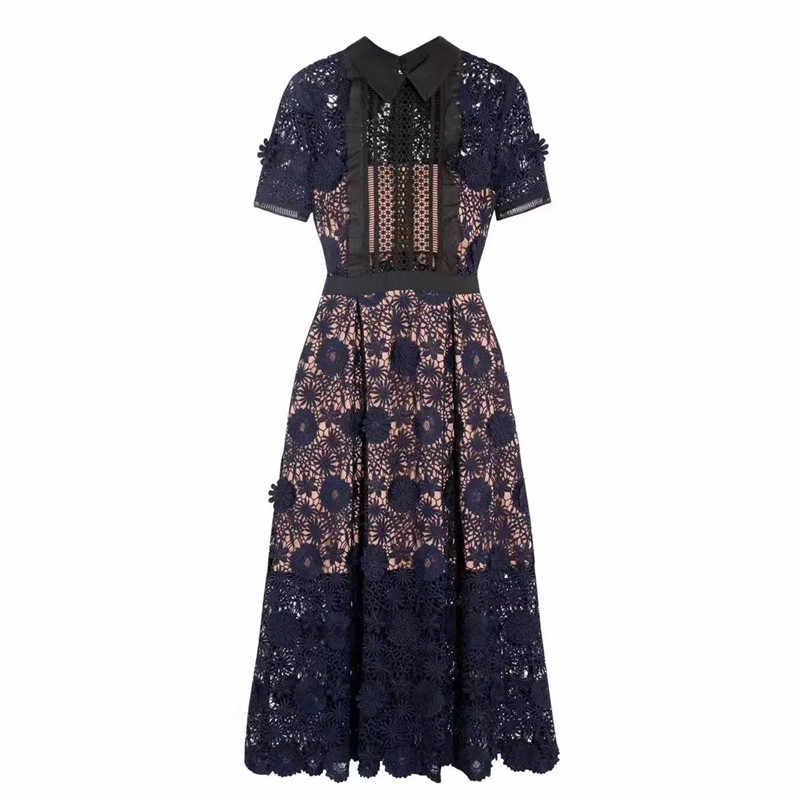 קצר שרוול פרח אלגנטי חלול החוצה עצמי דיוקן שמלות מעצב 2018 מסלול באיכות גבוהה תורו למטה צווארון תחרה ארוך שמלה