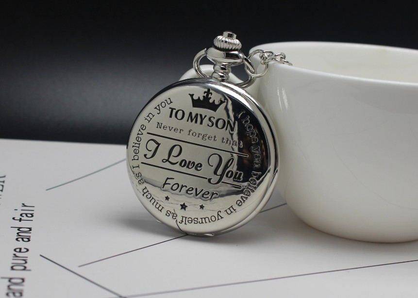 Men's Boys Pocket Watch To My Son,Never Forget That, I Love You Forever ,for Christmas Birthday Graduation Relogio De Bolso