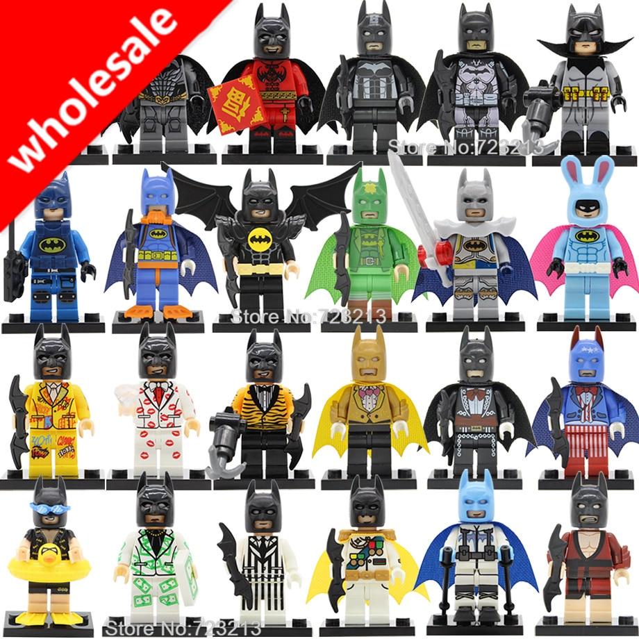 Wholesale 20pcs Batman Figure DC Super Hero Ribbit Swimming Gentleman Comic Bat Man Building Blocks Model Bricks Toys