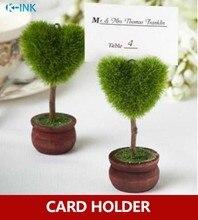 10 قطعة/الوحدة ، الحب القلب بوعاء حامل صور ، الأخضر بوعاء النبات حامل بطاقة رسالة لحفل الزفاف