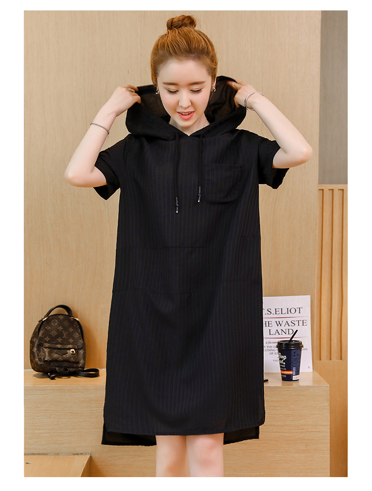 P Ammy Hooded Dresses Women Summer Plus Size Short Sleeves Jumper Dress  Ladies Hoodies Casual Solid Loose Tunic Vestidos