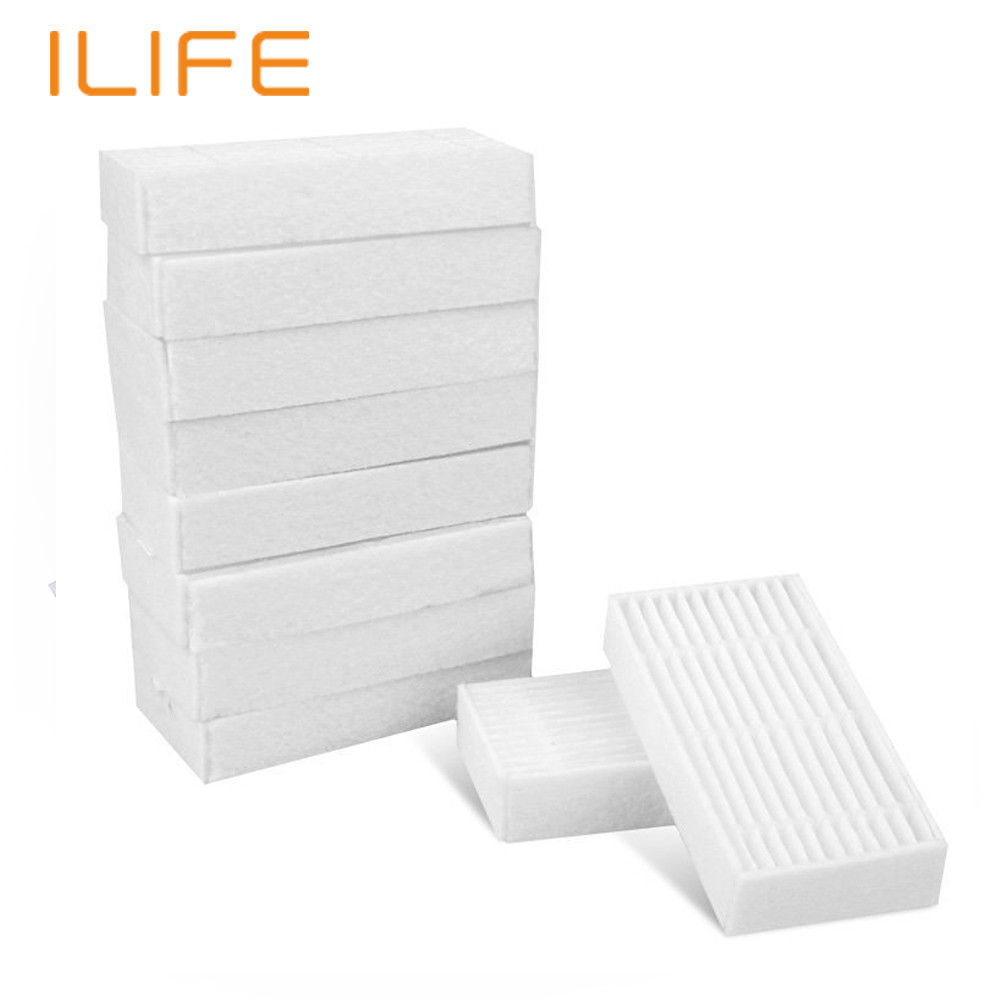 10Pcs HEPA Filter for ILIFE V3S V5 V5S Robot Vacuum Cleaner Parts Spare Replacement Kits Cleaning Robot Vacuum 2pcs suitable for xiaomi robot vacuum cleaner spare parts roller replacement kits cleaning spare parts side brushes
