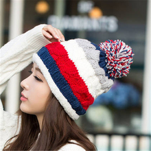 The new warm sweater women thicker autumn and winter fashion knitted wool cap cute blending edge cap MZ-23#