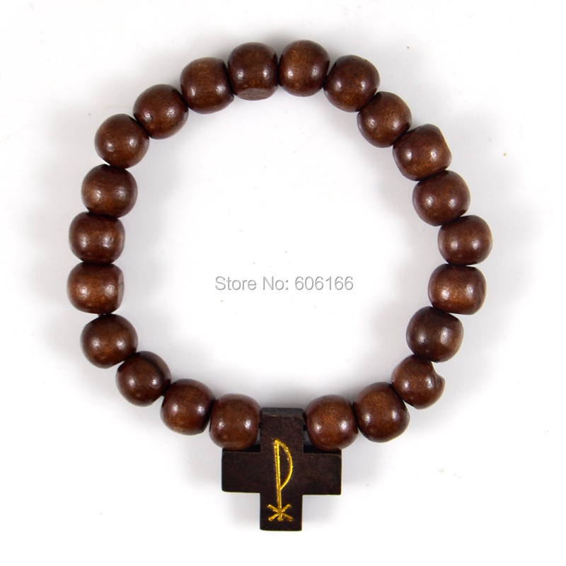Christian Charm Bracelets: 12x Dark Brown Labarum The Chiro Cross Wood Charm