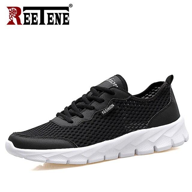 REETENE 2019 zapatos de hombre de malla de aire más baratos de verano Zapatos casuales de hombre de moda de cuero zapatos casuales hombres zapatillas Sandalias 37- 47