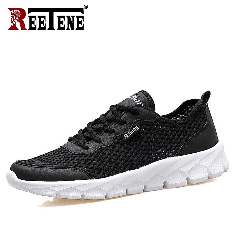 REETENE más barato de 2019 de malla de aire de los hombres zapatos casuales de verano Zapatos de los hombres de moda Zapatos casuales de cuero zapatos de los hombres zapatillas de deporte sandalias 37- 47