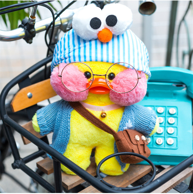 Lalafanfan Plush Stuffed Toys Doll Kawaii Cafe Mimi Yellow Duck lol Change Clothes Plush Toys Girls Gifts Toys for Children 5