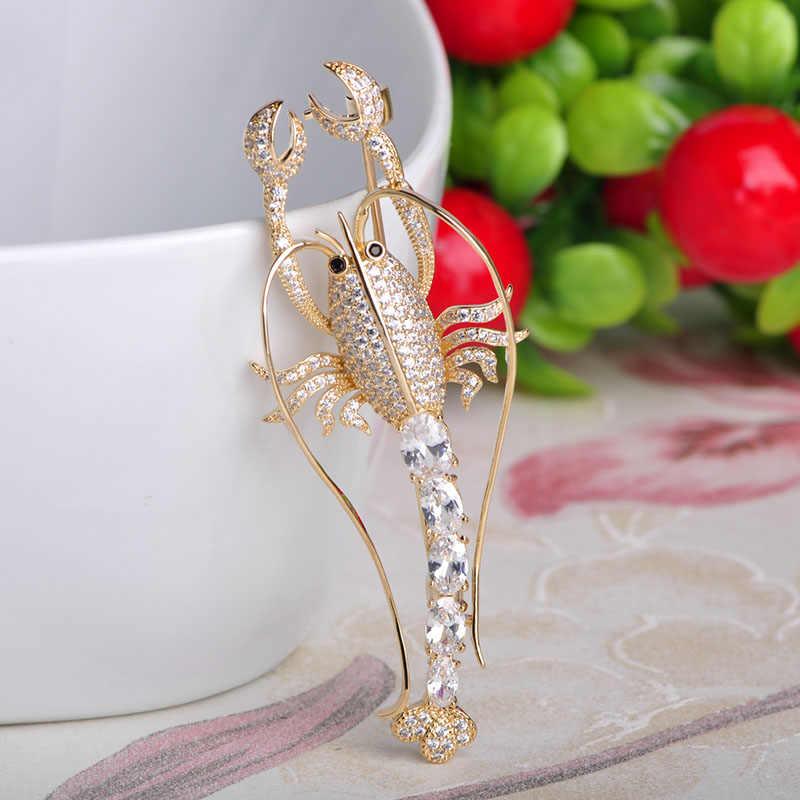MECHOSEN Gorgeous Cubic Zirconia Lobster Shape Brooches For Women Men Kids Gold Color Brass Banquet Dress Accessories riverdale