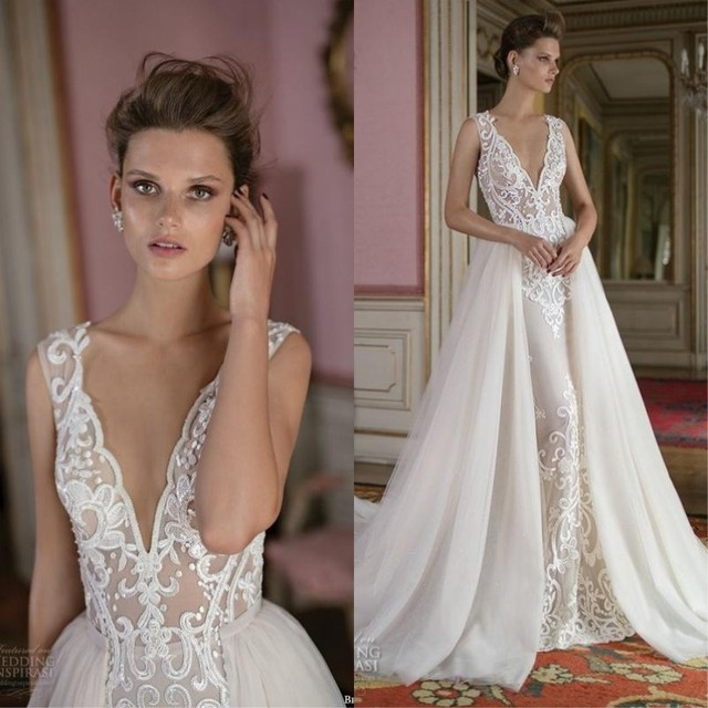 2017 berta wedding dresses sexy low back illusion bodice for Wedding dress with overskirt