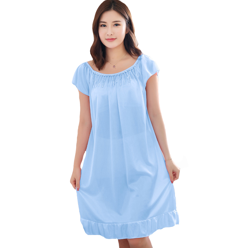 Solid Color Women Nightwear 2019Summer Short Sleeve Home Dress Satin Nightdress   Nightgown   Sexy Sleepwear   Sleepshirt   One Size