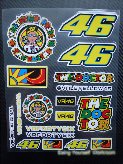 Aliexpresscom  Buy Motocross Vinyl Sticker VR  Valentino Rossi - Vinyl stickers for motorcycle helmets