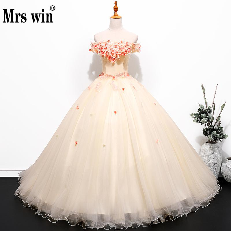 Vestidos De 15 Anos 2018 New Mrs Win Off The Shoulder Sweet Ball Gown Party Prom Quinceanera Dresses Cheap Quinceanera Dress
