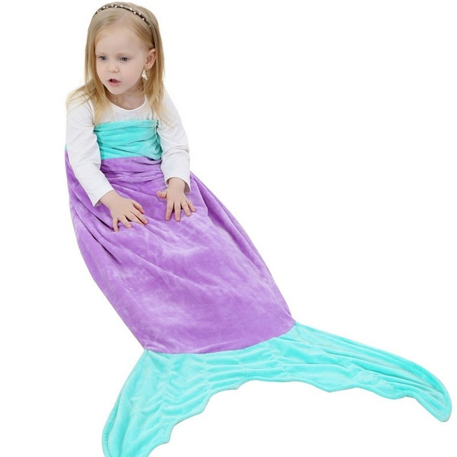 Mermaid Blanket Towel Envelope Kids Soft Animal Sleeping Bag Pajamas Overalls  Quilt Flannel Sleepsack Swaddle Shark Blanket