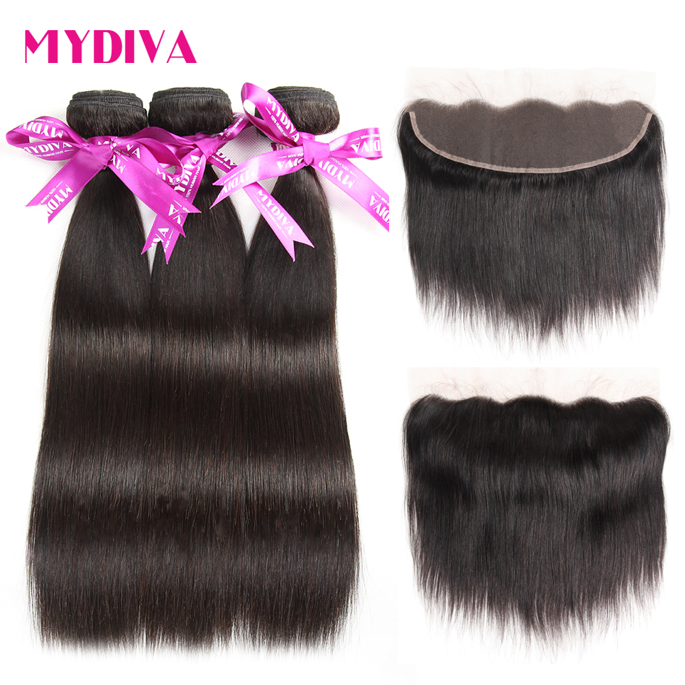 Mydiva Brazilian Straight Hair 3 Bundles With Lace Frontal Closure 100% Human Hair Weave Bundles Non Remy Hair Extension 10-26""