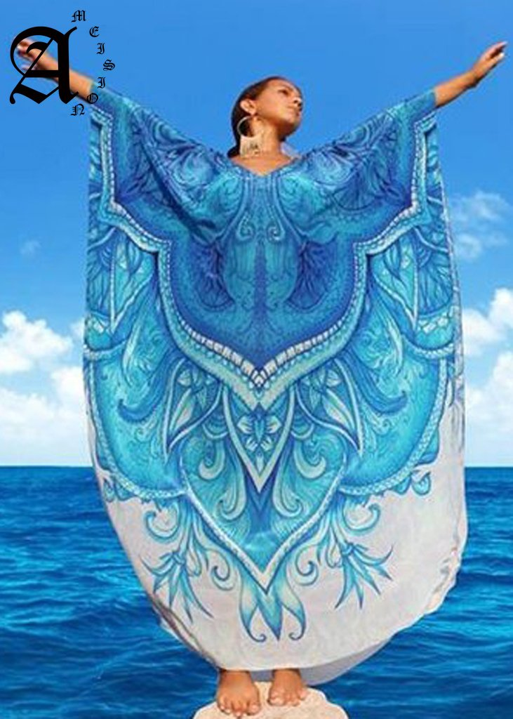 Ameision Casual Oversize Bohemian Printed Kaftan Beach Dress Plus Size Tunic Women Summer Beachwear Half Sleeve Maxi Robe