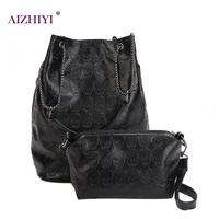Vintage Women Bucket Skull Shoulder Bags Composite Bags 2018 PU Leather Female Black Handbags Ladies Casual