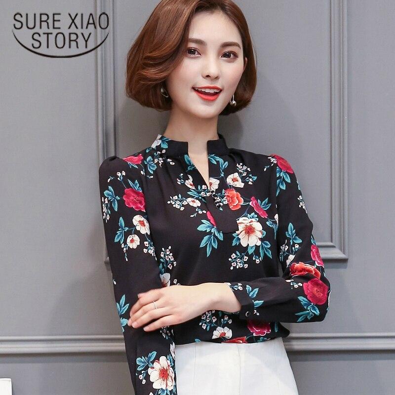 Annie store New Fashion Office lady Blouse 2017 Slim Body Lady Printed Chiffon Shirt Long Sleeve Flower Shirt 66H 30