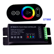 Wholesale 1 pcs DC12-24V 6Ax3channel 18A led dimmer GT888 RF remote touch RGB led controller for 5050 RGB led strip lights
