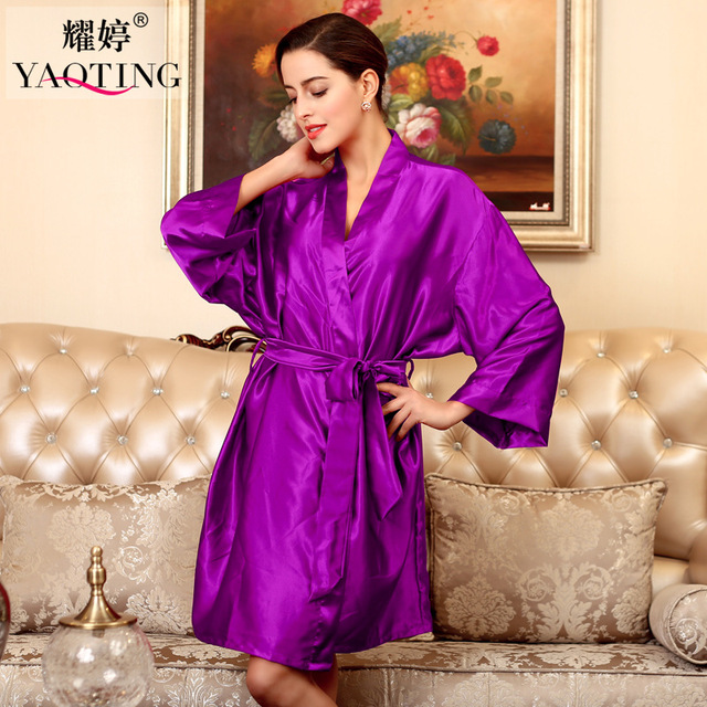 12 Colores Más El Tamaño de Satén de Seda Robe Longue Femme Otoño Mujeres Sexy Batas Camisón Albornoz Ropa de Dormir Camisón Vestido de La Noche WP131