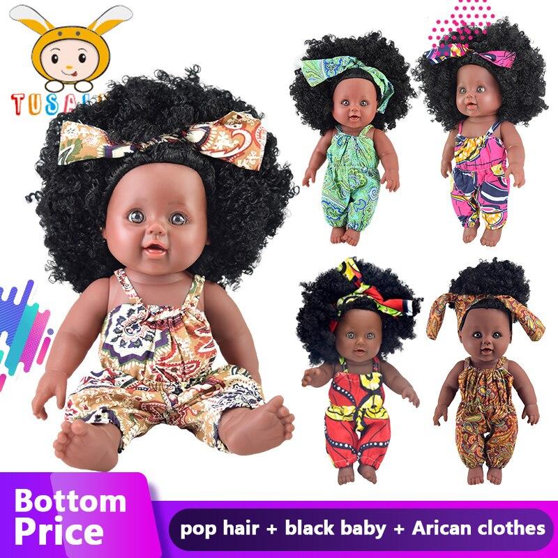 Americano cabelo bebek silicone vinil renascer boneca preta brinquedo Rapunzel boneca olhos de segurança do bebê macio do bebê recém-nascido menina presente lol partido