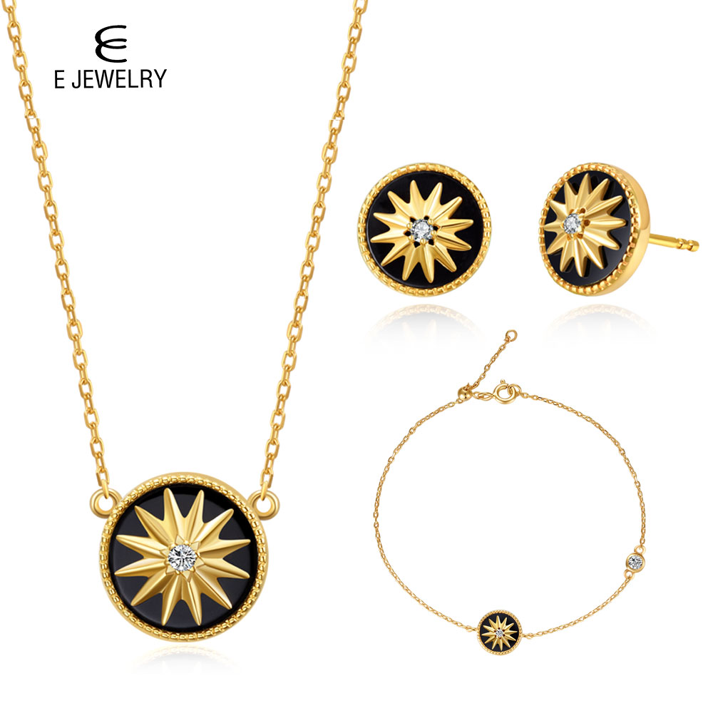 E Jewelry 925 Sterling Silver Lucky Star Agate 18K Gold Plated Necklaces Stud Earrings Bangle Bracelet Jewelry Sets for Women