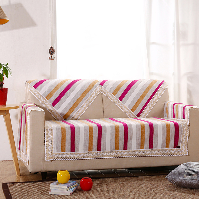 New Arrival Breathable Linen Fabric Slip Covers For Home Couch Or Sofas Striped