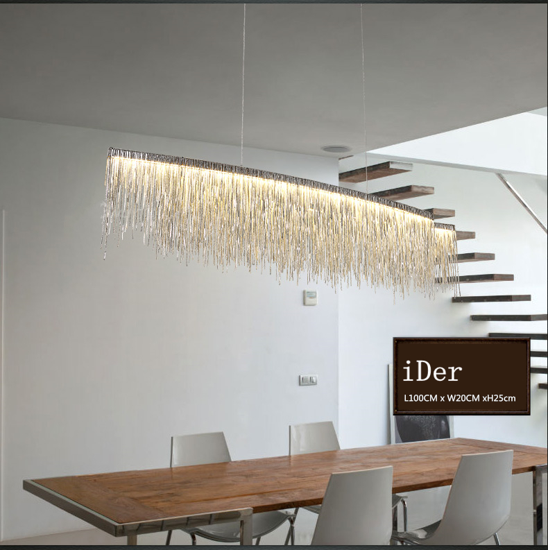 Image 2 - Modern designer decorative chandelier Nordic tassel restaurant luxury hotel engineering chain living room art lighting-in Chandeliers from Lights & Lighting
