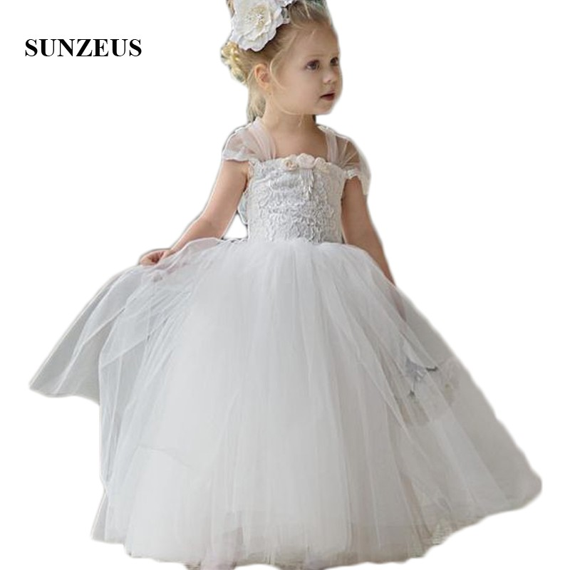 Lace Ball Gown First Communion Gowns for Little   Girls   Handmade   Flowers   Back Bow Sweet   Flower     Girls     Dresses   2018 Newly SF38